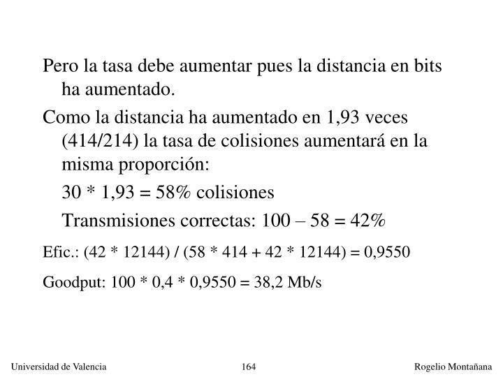 Pero la tasa debe aumentar pues la distancia en bits ha aumentado.