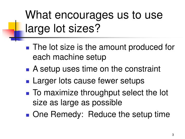 What encourages us to use large lot sizes?