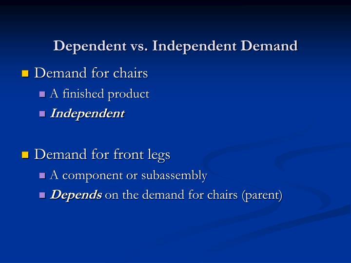 Dependent vs. Independent Demand
