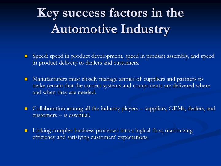 Key success factors in the Automotive Industry