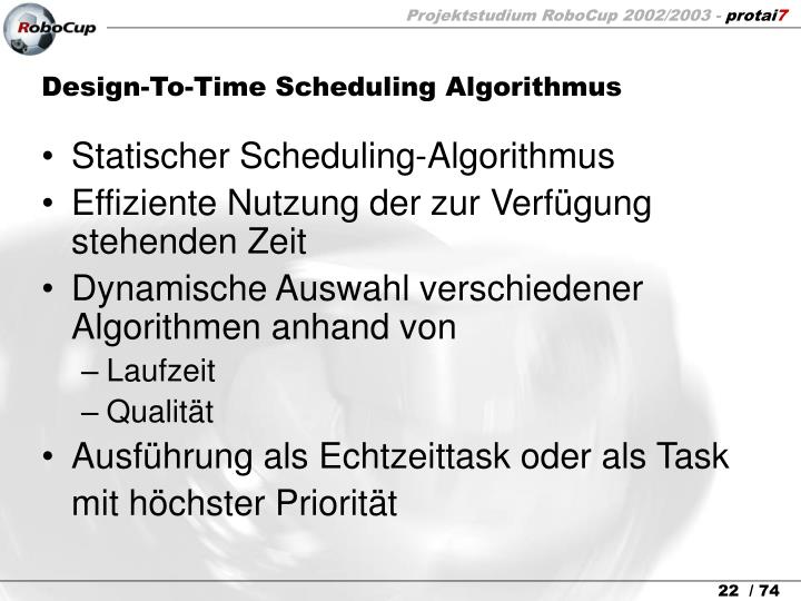 Design-To-Time Scheduling Algorithmus
