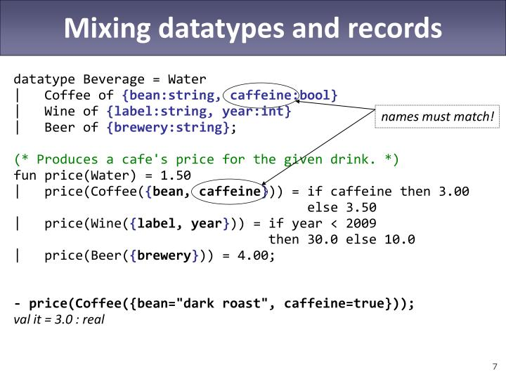 Mixing datatypes and records