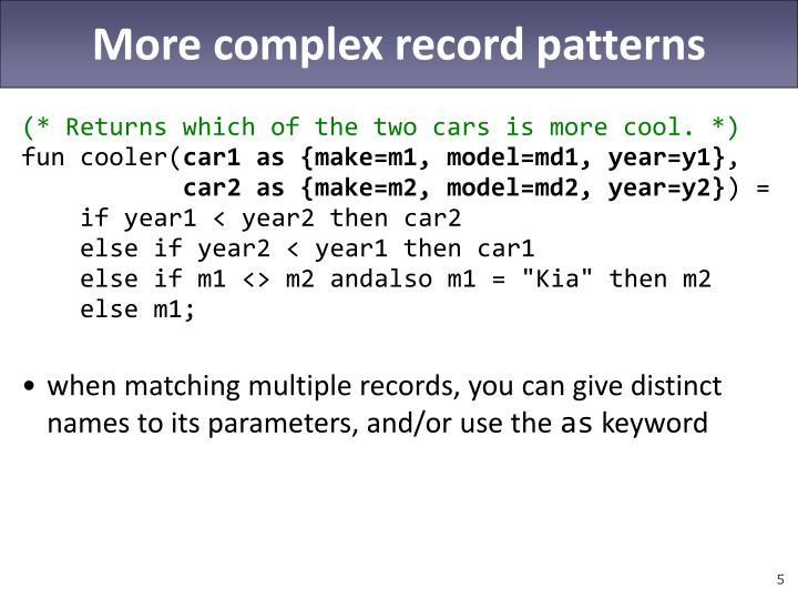 More complex record patterns
