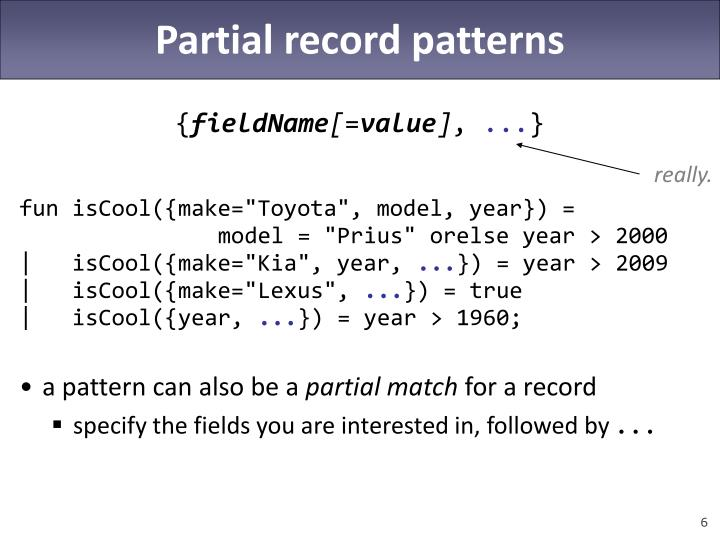 Partial record patterns