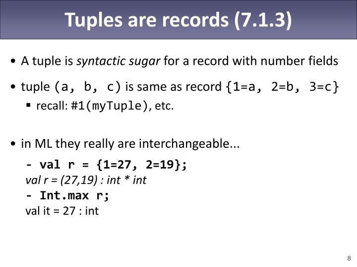 Tuples are records (7.1.3)