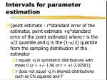 intervals for parameter estimation