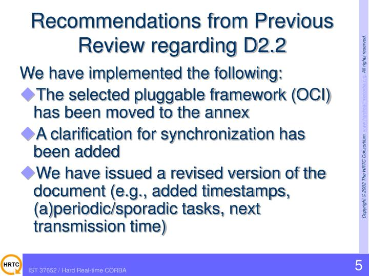 Recommendations from Previous Review regarding D2.2
