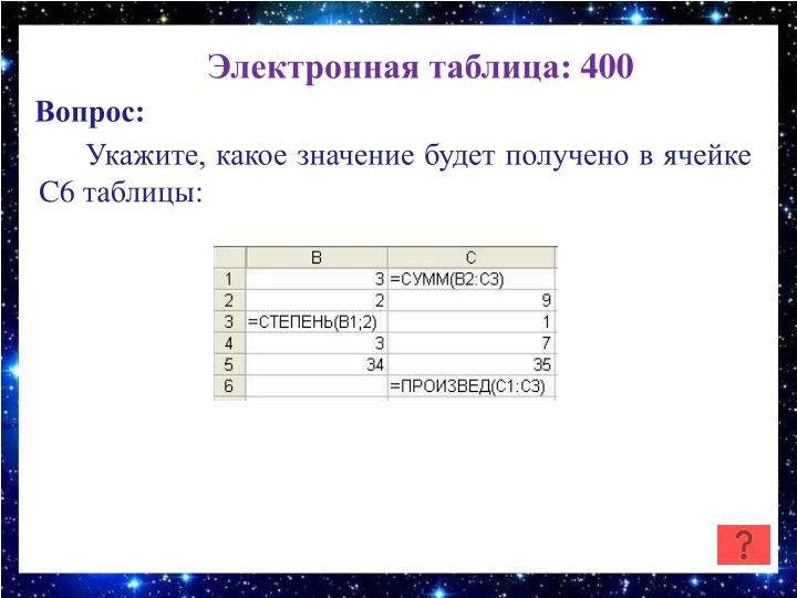 Электронная таблица