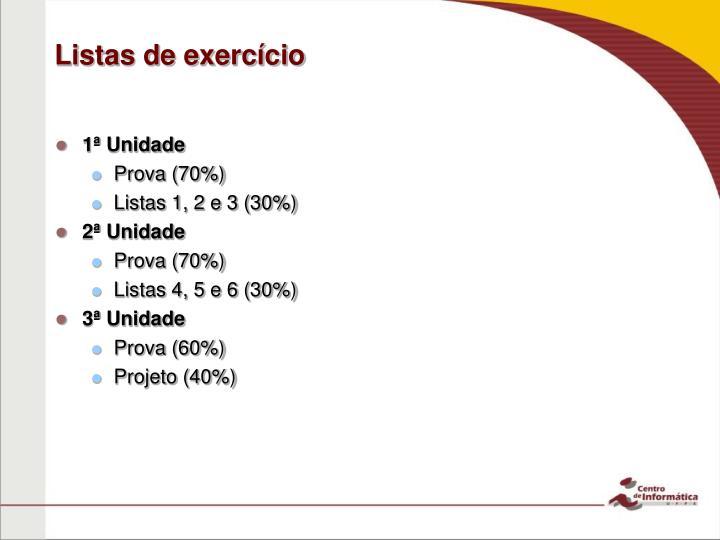 Listas de exercício