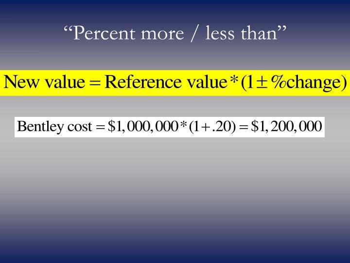 """Percent more / less than"""