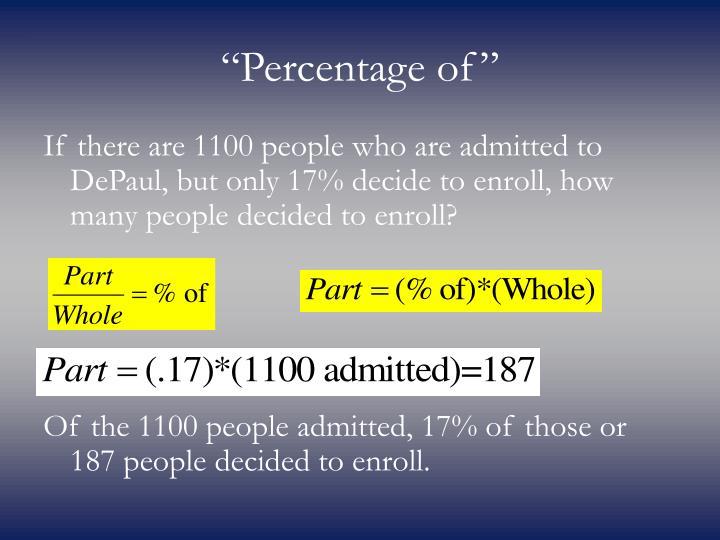 """Percentage of"""