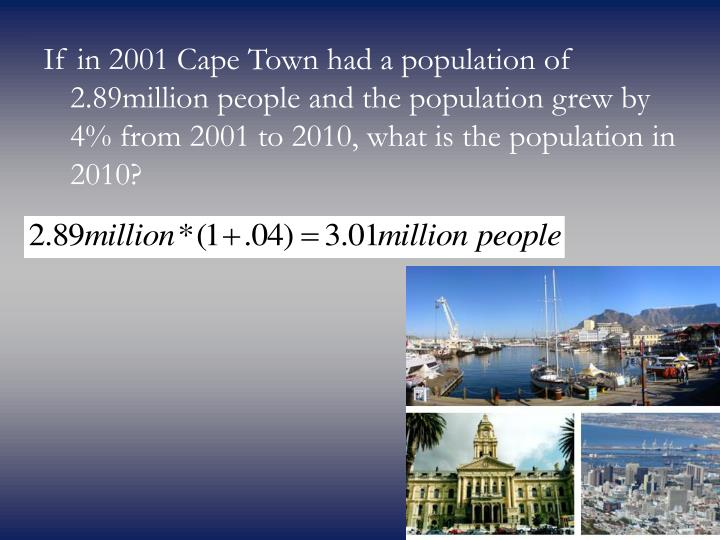 If in 2001 Cape Town had a population of 2.89million people and the population grew by 4% from 2001 to 2010, what is the population in 2010?