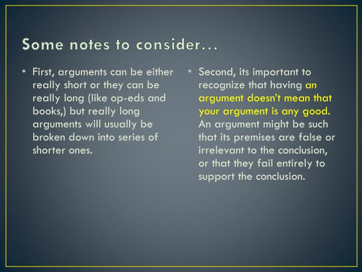 Some notes to consider…
