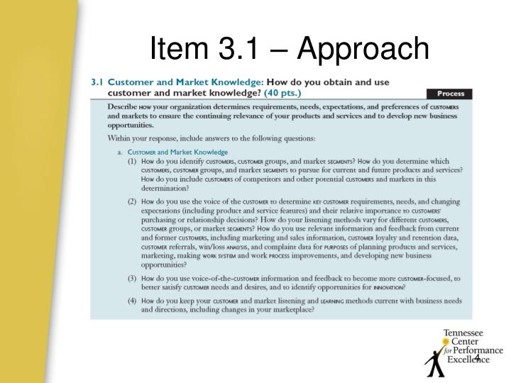 Item 3.1 – Approach