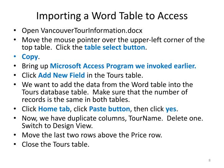 Importing a Word Table to Access