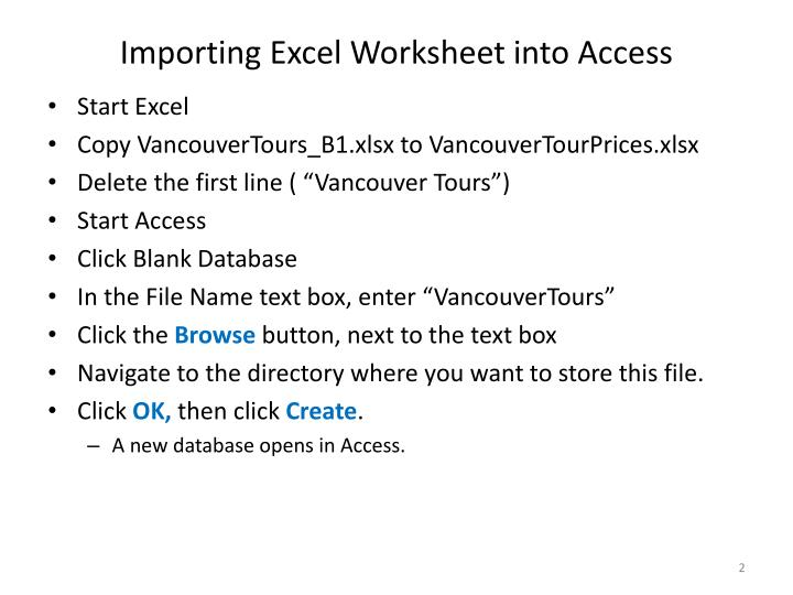 Importing excel worksheet into access