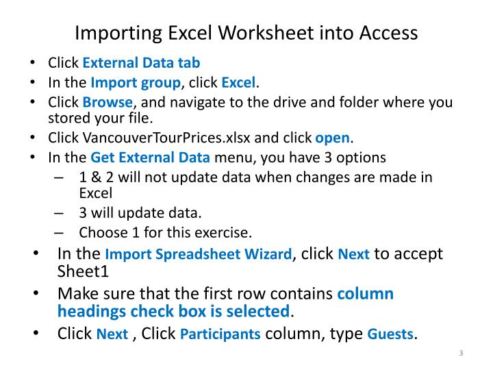 Importing excel worksheet into access1