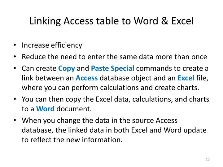 Linking Access table to Word