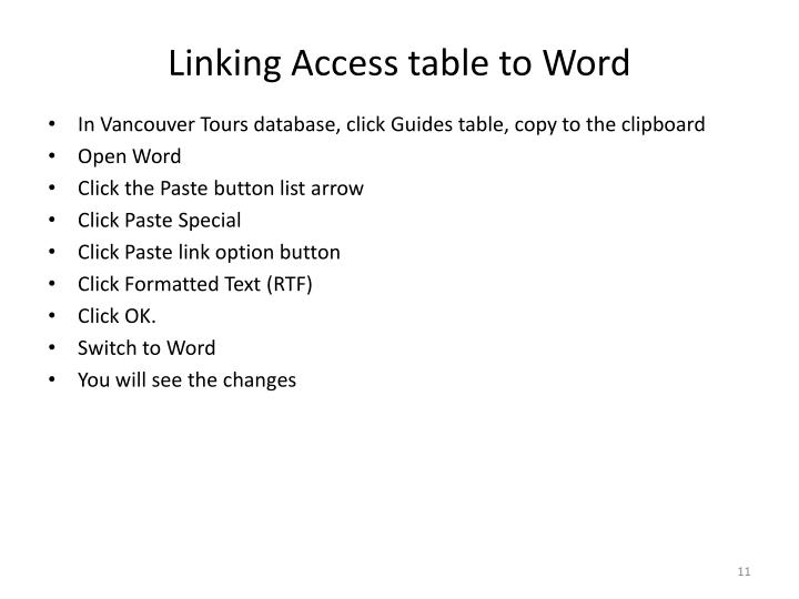 Linking Access table to