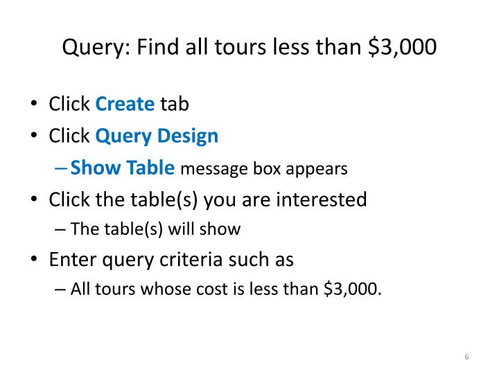 Query: Find all tours less than $3,000
