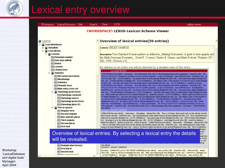 Lexical entry overview