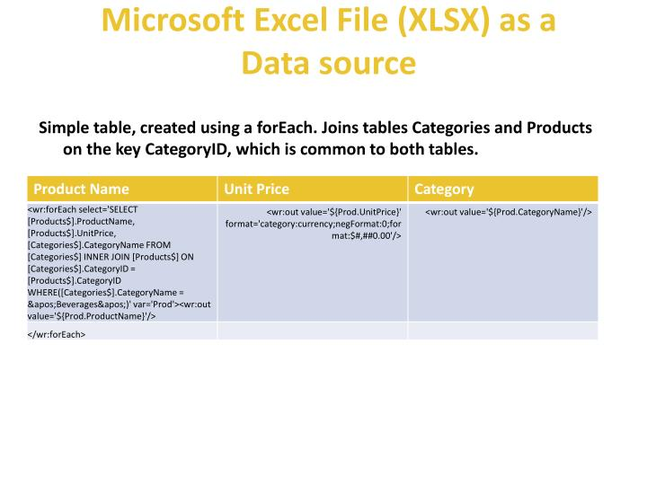 Microsoft excel file xlsx as a data source1