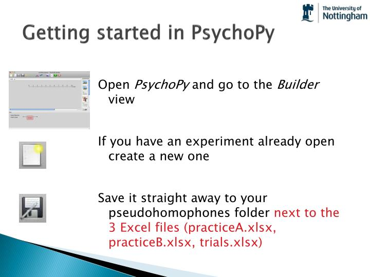 Getting started in psychopy