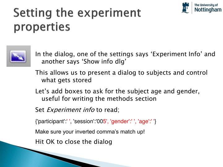 Setting the experiment properties
