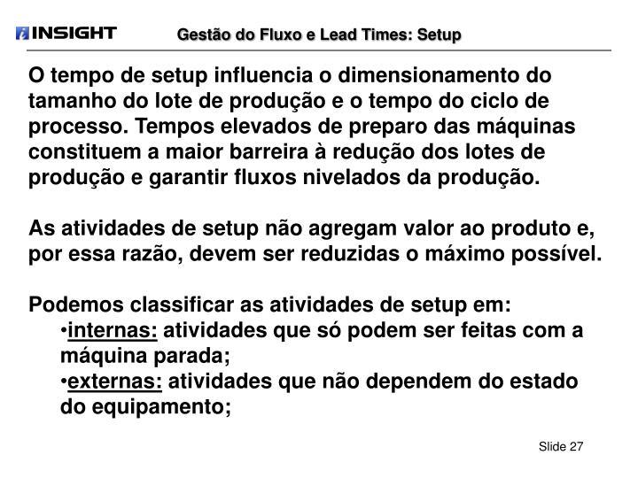 Gestão do Fluxo e Lead Times: Setup