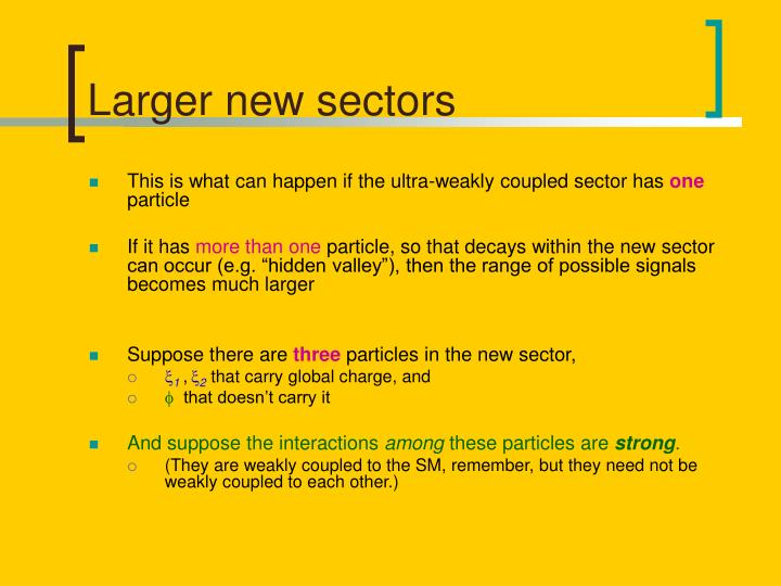Larger new sectors