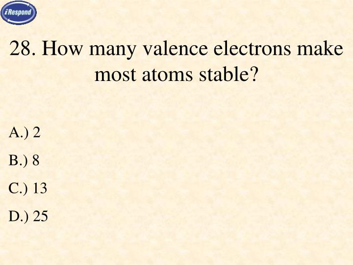 28. How many valence electrons make most atoms stable?