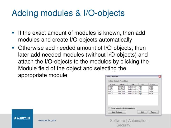 Adding modules & I/O-objects