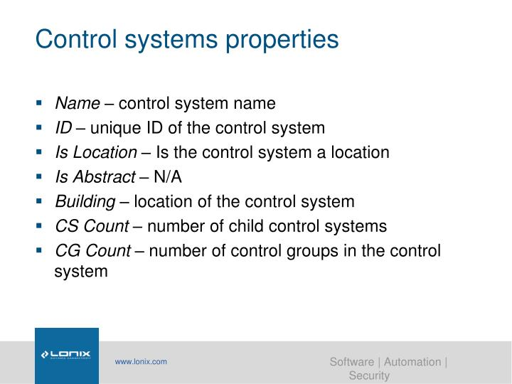 Control systems properties