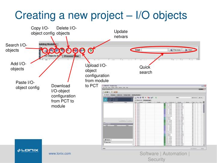 Creating a new project – I/O objects