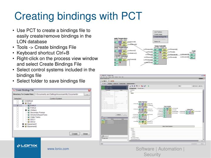 Creating bindings with PCT