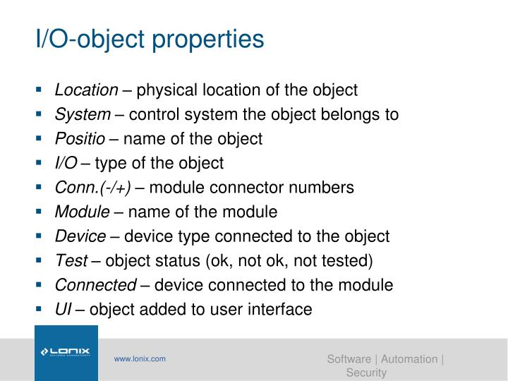 I/O-object properties