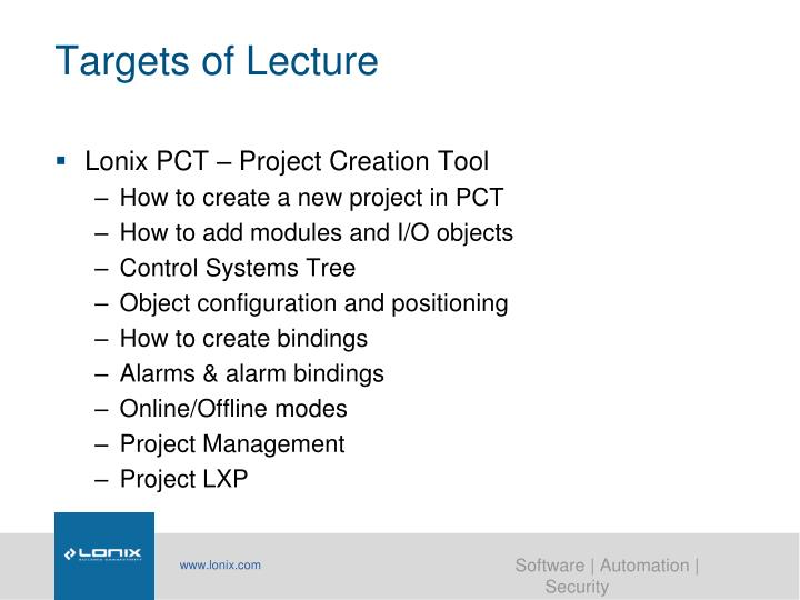 Targets of Lecture