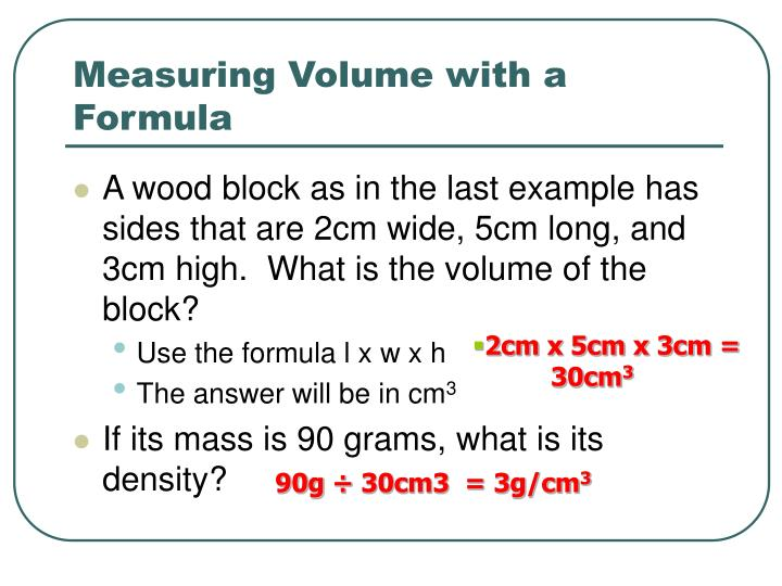 Measuring Volume with a Formula