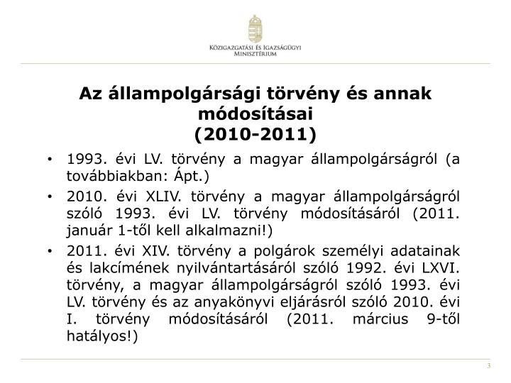 Az állampolgársági törvény és annak módosításai