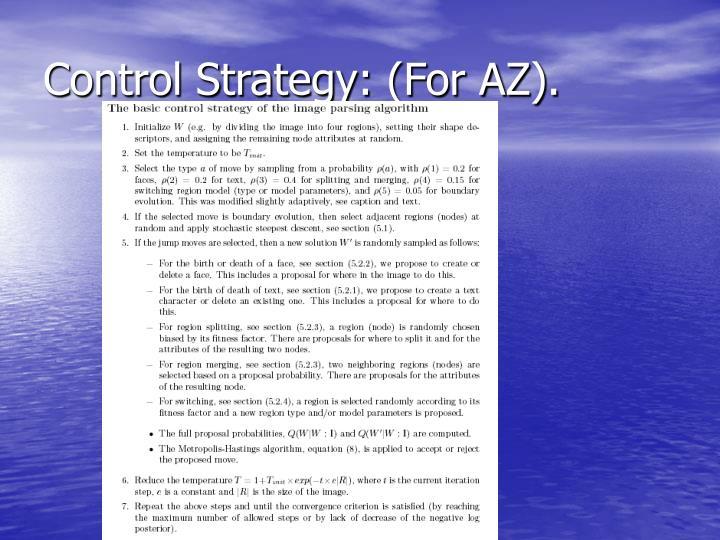 Control Strategy: (For AZ).