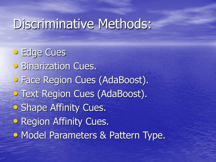 Discriminative Methods: