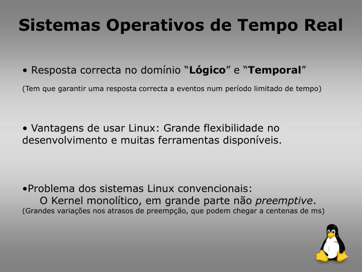 Sistemas Operativos de Tempo Real