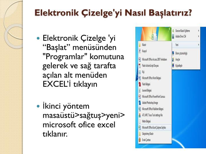 Elektronik Çizelge'yi Nasıl Başlatırız?