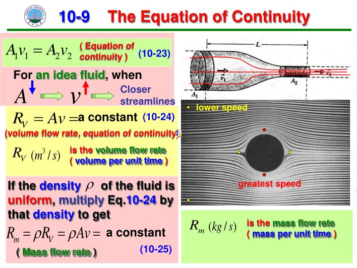 ( Equation of     continuity )