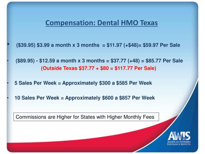 Compensation: Dental HMO Texas