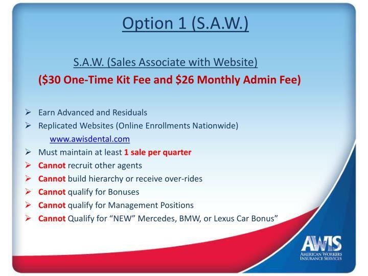 Option 1 (S.A.W.)