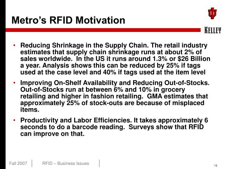Metro's RFID Motivation