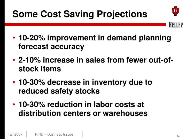 Some Cost Saving Projections