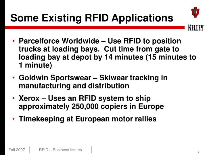 Some Existing RFID Applications
