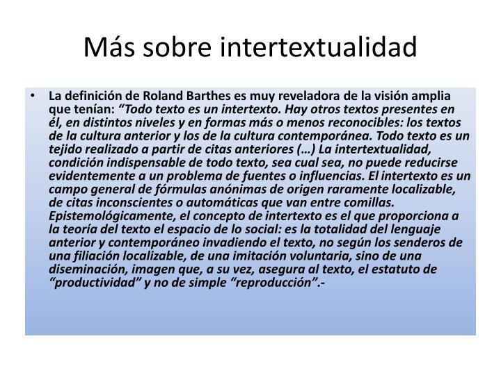 Más sobre intertextualidad